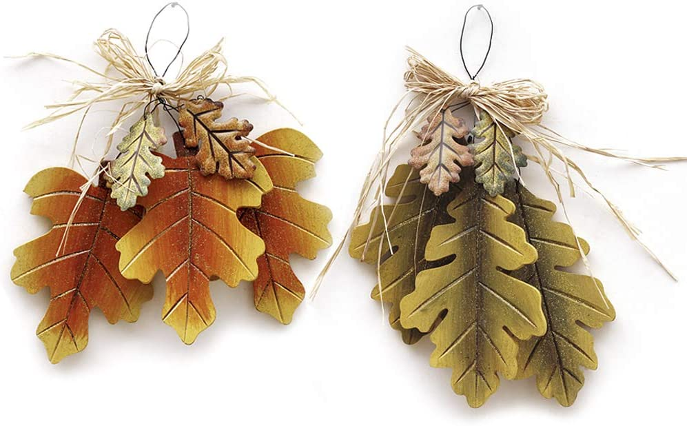 """Wooden Hanging Fall Leaves Decor Set of 2, Decorative Maple Leaves and Oak Leaves Rustic Autumn Themed Decor for Front Door Decoration Wall Decor, Autumn Harvest Thanksgiving Decor 10.5"""" X 7.75"""""""