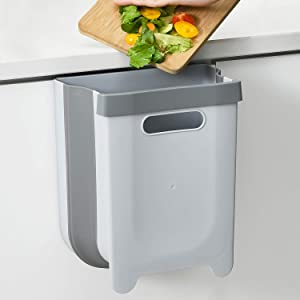 SUBEKYU Hanging Folding Trash Can for Kitchen Cabinet Door, Small Collapsible Under Sink Garbage Bin, Wall Mounted Waste Bin, Plastic, Grey, 2.4 Gallon