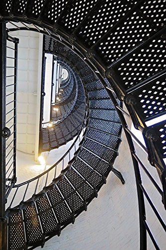 Home Comforts Print on Metal Lighthouse Spiral Architecture Steps Stairs Print 12 x 18. Worry Free Wall Installation - Shadow Mount is Included.