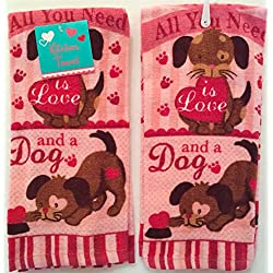 Valentine Animal Lovers Kitchen Dish Towels: Puppy Love
