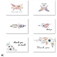 ZHUOTOP 6PCS Thank You Greeting Cards Floral and White Chalkboard Design Blank Note Card