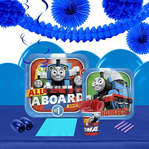 BirthdayExpress Thomas The Train Engine All Aboard Childrens Party Supplies Pack and Decoration Kit - 16 (Thomas The Train Centerpieces)