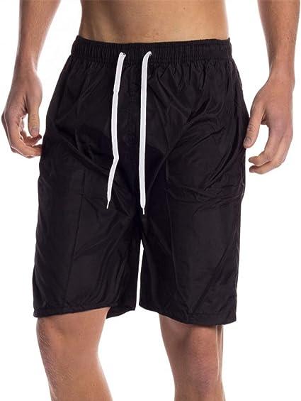 TALLA S. INCERUN - Pantalones cortos de verano para hombre, cintura elástica, cordón para nadar con bolsillos