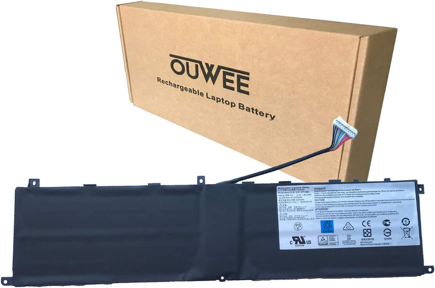 OUWEE BTY-M6L Laptop Battery Compatible with MSI GS65 GS75 Stealth Thin 8SE 8SF 8SG 9SD 9SE 9SF 9SG PS63 Modern 8RC 8SC P65 Creator 8RD 8RF 8SF 9SE P75 Creator 9SC 9SE Series MS-16Q2 15.2V 80.25Wh
