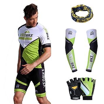 Asvert Malliot de Ciclismo Hombre 3D Cojín Manga Corta Jersey + Pantalones  Ropa de Bicicleta Verano eb9919e7e0a23