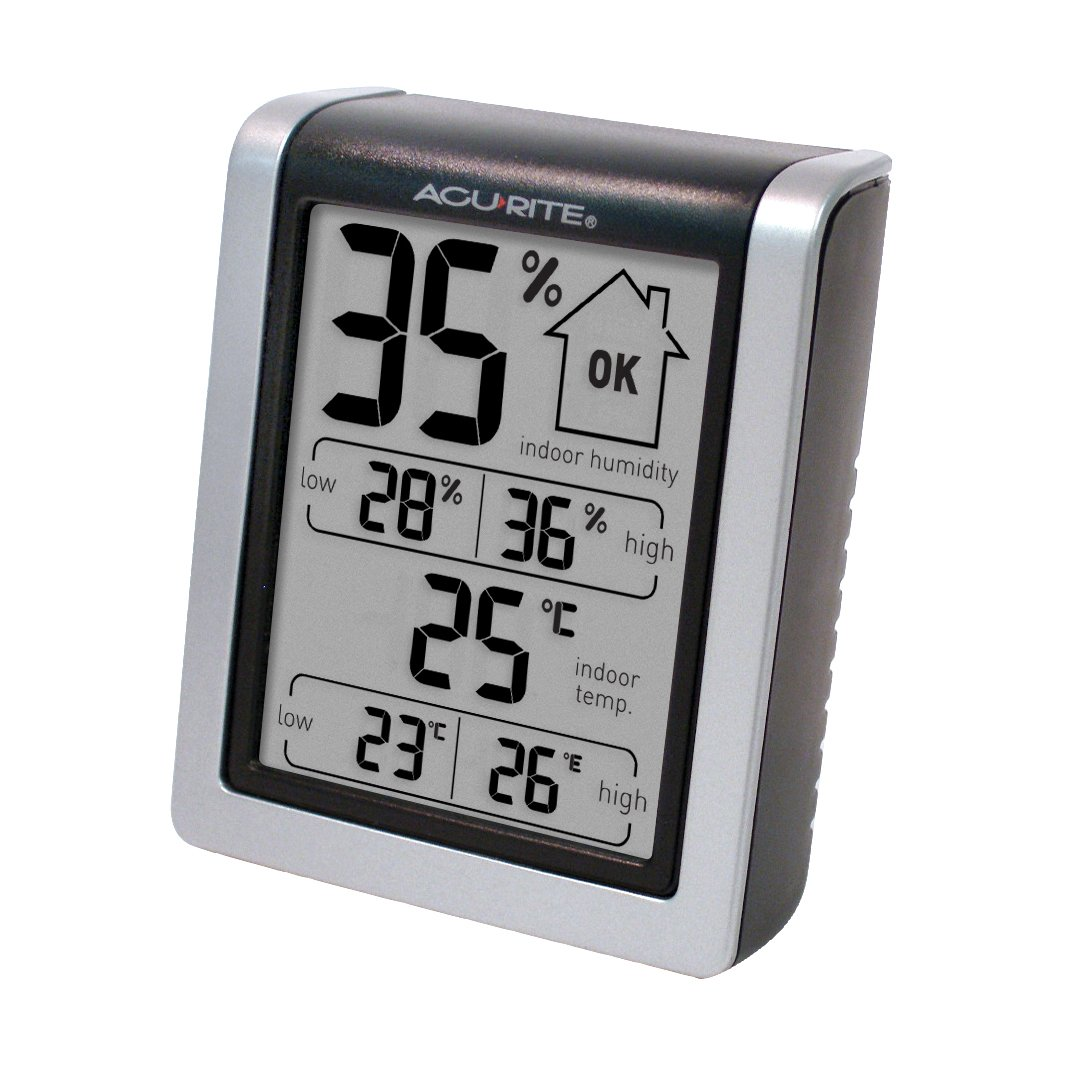 AcuRite 77002EM Humidity Monitor with Indoor Thermometer, Digital Hygrometer and Humidity Gauge Indicator