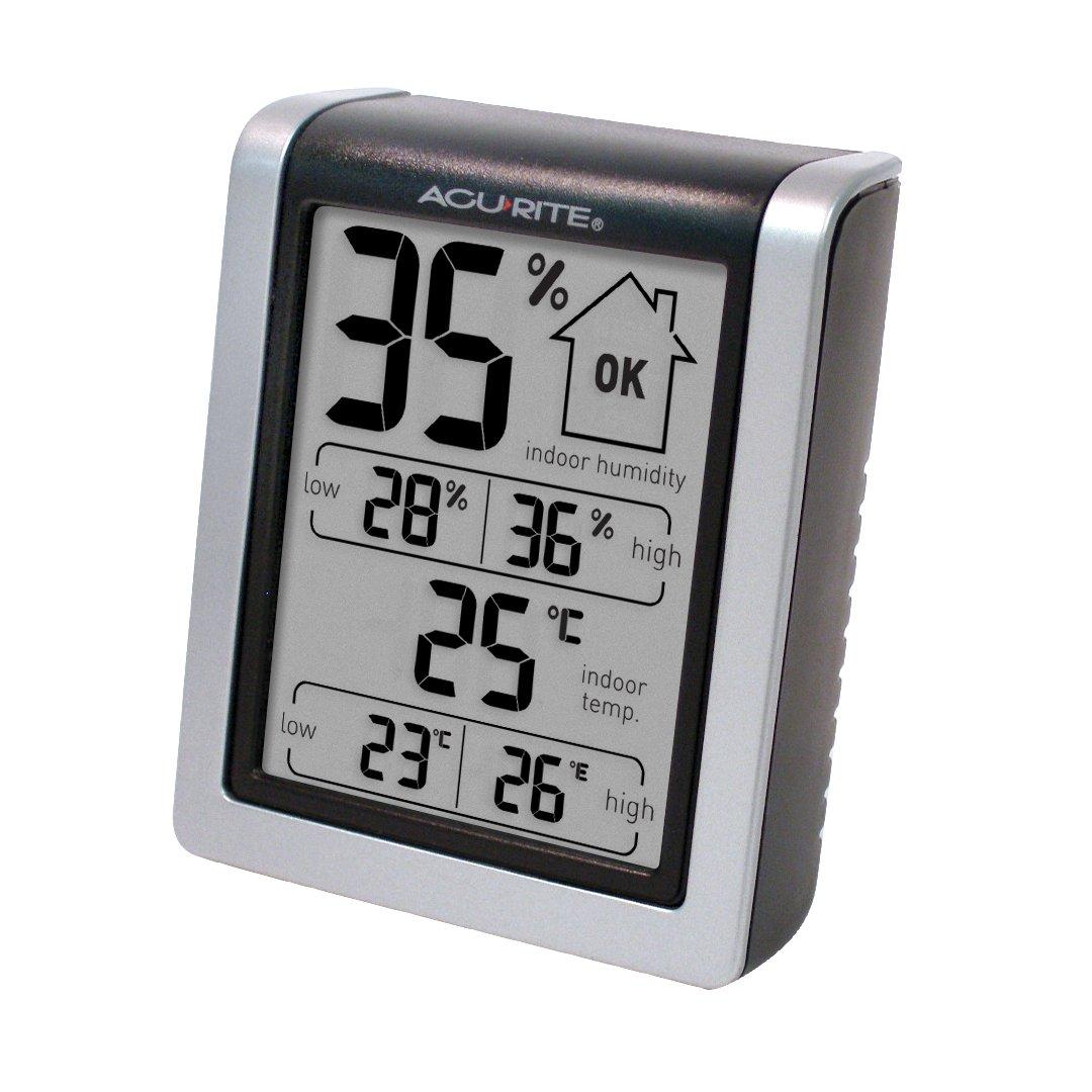 AcuRite 77002EM - Monitor de Humedad con termómetro Interior, higrómetro Digital e indicador de Humedad