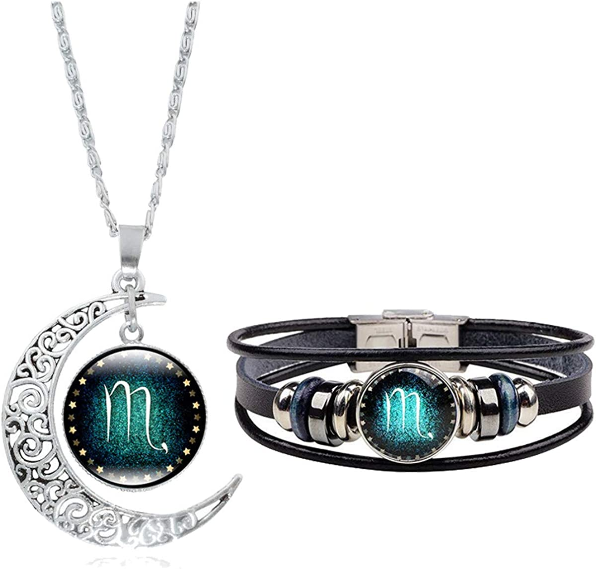 Fashion 12 Twelve Constellations Hand Woven Leather Bracelet and Moon Pendant Necklace Zodiac Sign Jewelry Set