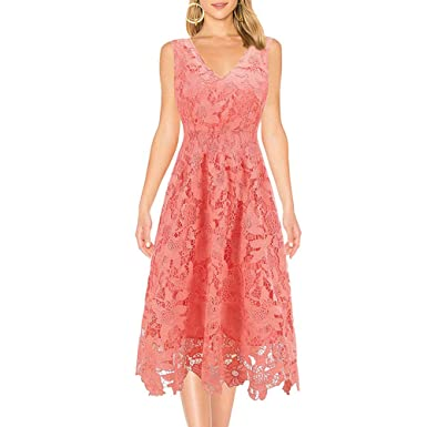 f8efa7c8ab7 Image Unavailable. Image not available for. Color: KIMILILY Women's Summer  Lace Dress Sleeveless V Neck Cocktail Dresses