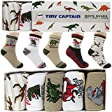 Boys Dinosaur Socks For 4-7 Year Old Best Gift For Age 4 Boy Sock From Tiny Captain (White, Red, and Brown)