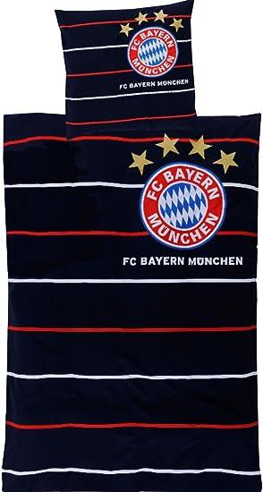 Fc Bayern München Bettwäsche Linon Streifen Amazonde Sport Freizeit
