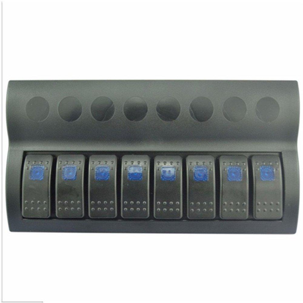 8 Gang 12v/24v Blue LED Car Marine Boat Rocker Switch Panel Circuit Breakers Overload Protected HAP