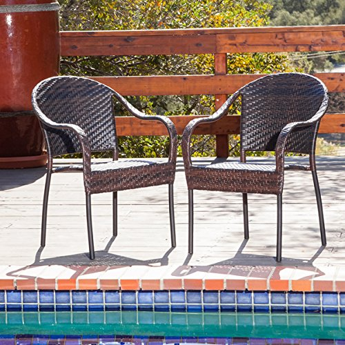 Christopher Knight Home Fully Assembled Sunset Outdoor Tight-weave Wicker Chair (Set of Two) (Discount Wicker Chairs)