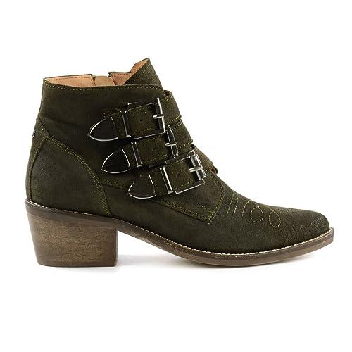 Western Botines con bucles, Verde (verde), 42: Amazon.es: Zapatos y complementos