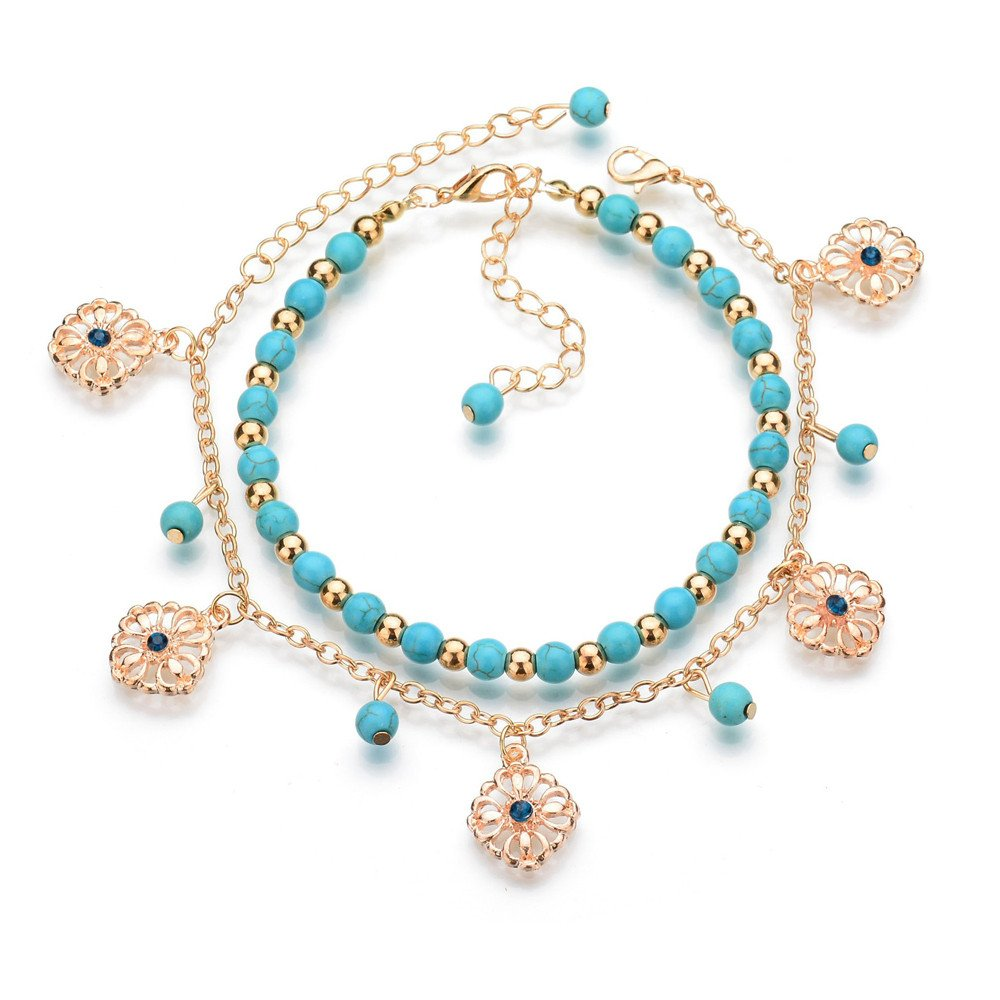 Muranba Women Bohemian Silver Alloy Moon Shape Turquoise Ethnic Boho Gypsy Cuff Bangles (Blue)