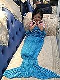 "Handmade Mermaid Tail Blanket Crochet , Ibaby888 All Seasons Warm Knitted Bed Blanket Sofa Quilt Living Room Sleeping Bag for Kids and Adults(Kids / 55.1""x27.6"", Kids Falbala Blue)"