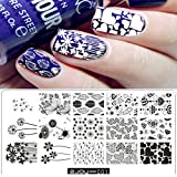 Aribelly Women Nail Art Manicure Rectangle Nail Art Stamping Template Plates DIY (A)