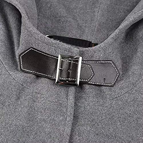 Button Especial Primaverile Lana Fashion Bobo Estilo Cappotti Incappucciato Donna Autunno Forti 88 Smanicato Monocromo Eleganti Tasche Con Grau Taglie Cappotto Poncho TlK1cFJ3