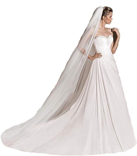 1 Tier Soft White Ivory Cathedral Length 3M Bridal Wedding Veil Cut//Plain Edge