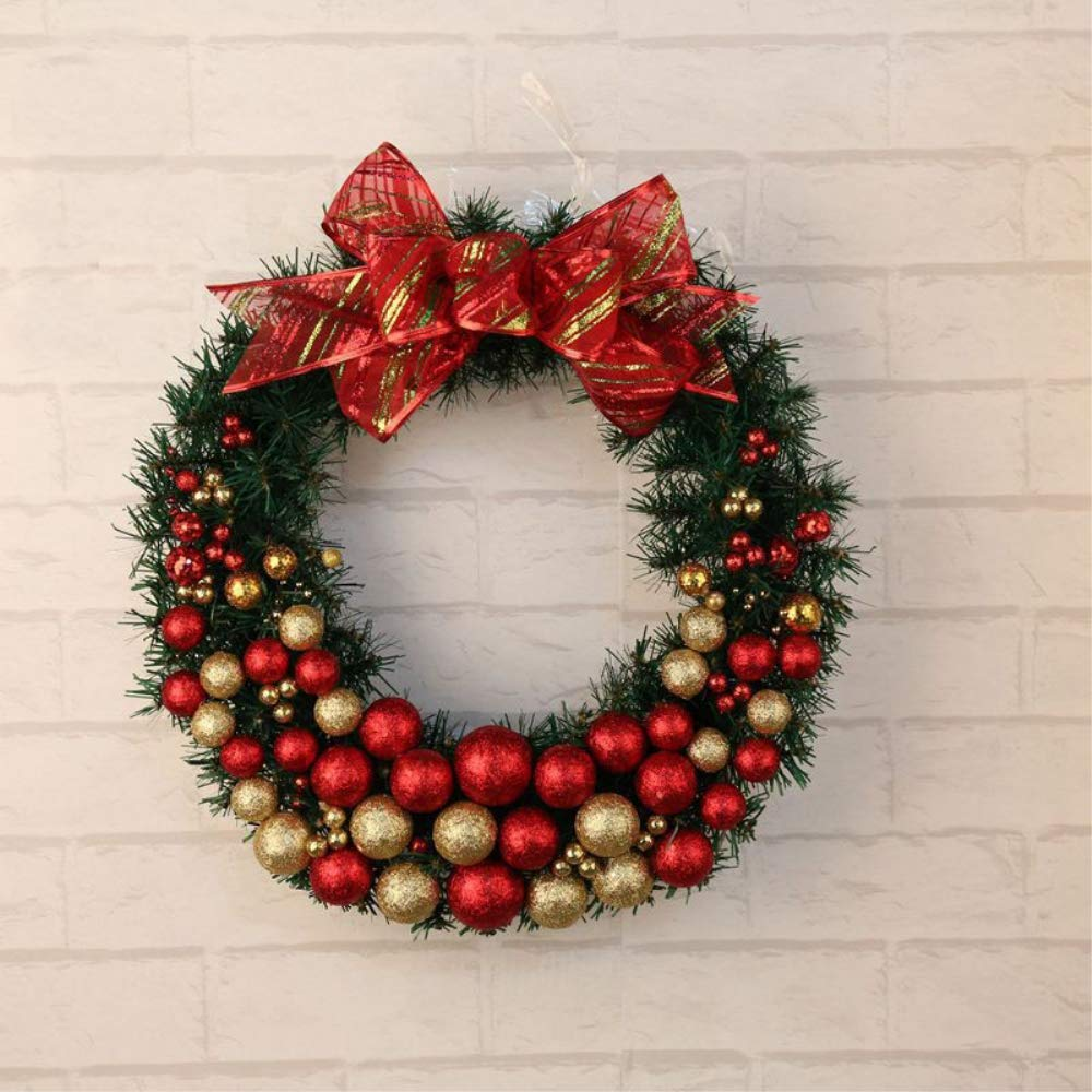 VISUNION Christmas Wreath, Powdering Fruit and Red Balls and Bow,Marry Christmas Decorated Rattan Wreath Decoration, 16 Inch