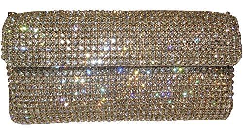 zeitlose Clutch - gold - Kristalle mit hunderten Swarovski Elements besetzt Tasche Cristalls Strass