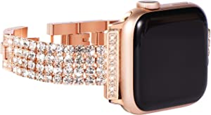 NewWays Compatible for Apple Watch Band 42mm Women, Sparkling Bling Diamonds Bracelet for Apple Watch Band 44mm Series 6 SE Series 4 Series 5 iwatch Bands 42mm Womens (Rose Gold)