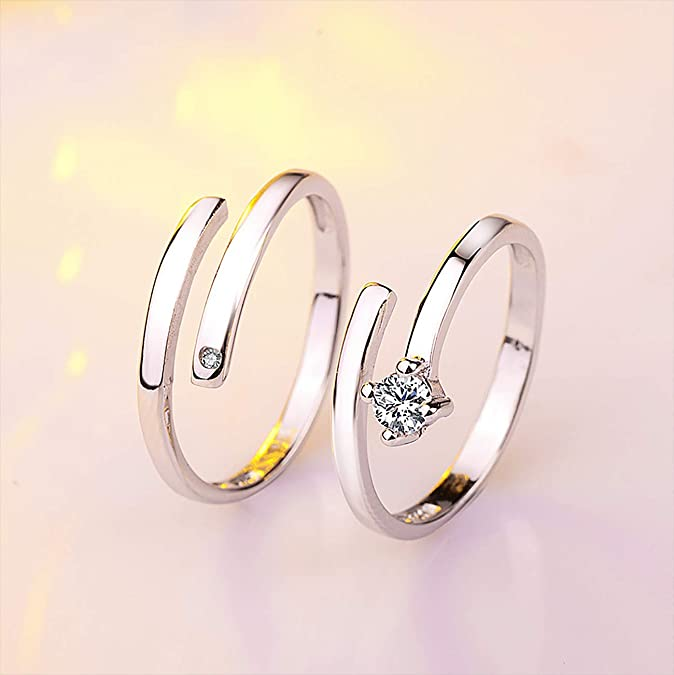 TzrNhm Blossom Wedding Promise Ring for Her Platinum Plated Adjustable Anniversary Ring Couple Rings Set for Him /& Her