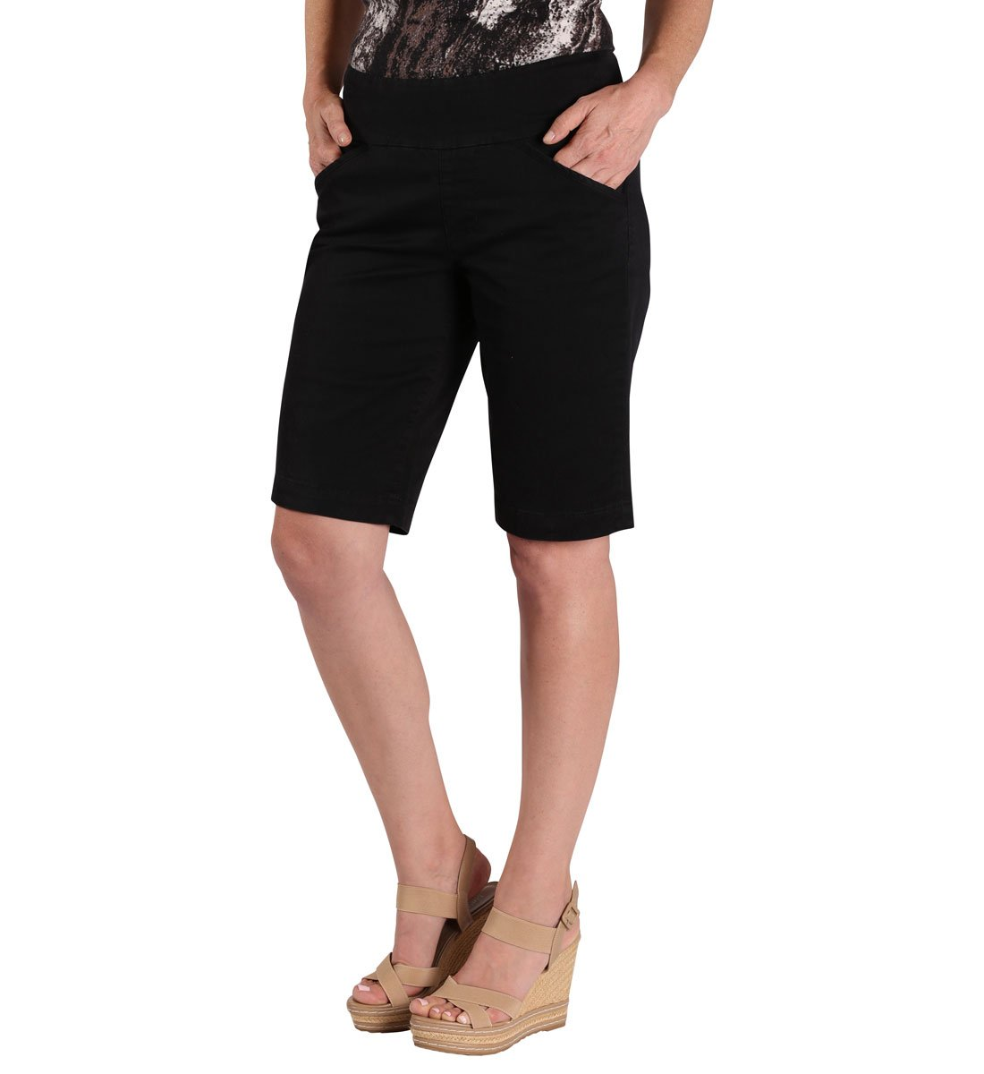Jag Jeans Women's Ainsley Pull on Bermuda Short, Black Twill, 10