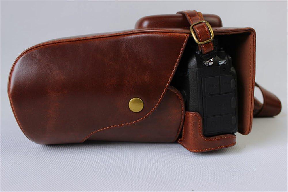 Neck Strap Nikon D3200 Case Mini Storage Bag -Black BolinUS Handmade PU Leather FullBody Camera Case Bag Cover for Nikon D3100 D3200 D3300 D3400 with 18-105mm lens Bottom Opening Version