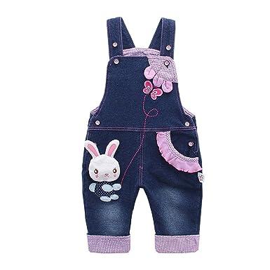 41e9e6898cde Amazon.com  Kidscool Baby   Little Girls Rabbit Casual Soft Denim ...