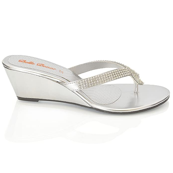 86a0753e520b ESSEX GLAM NEW WOMENS DIAMANTE TOE POST LADIES DRESSY PARTY SPARKLY WEDGE SANDALS  SIZE 3-8 Silver  Amazon.co.uk  Shoes   Bags