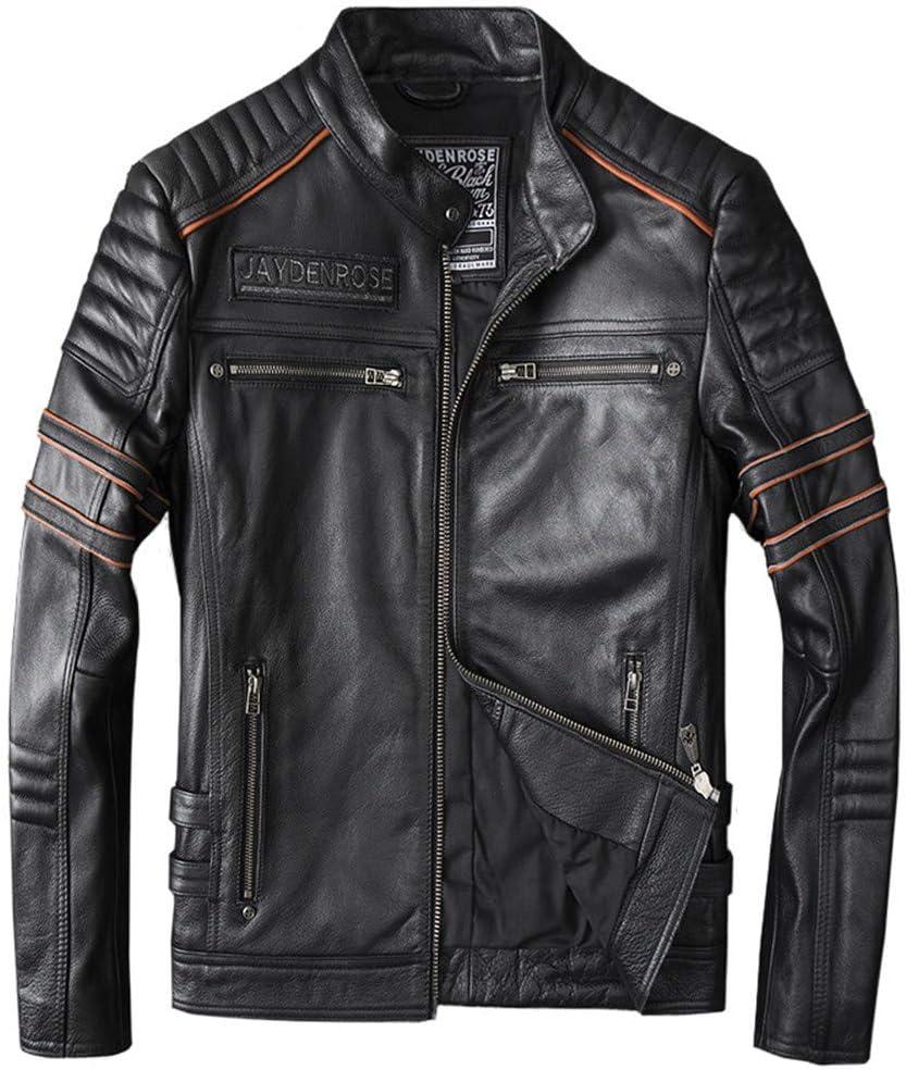 Chaqueta De Moto Clásica para Hombre, Cuero Genuino, Punk, Esqueleto, Bordado, Slim Fit, Bombardero, Abrigo, Outwear