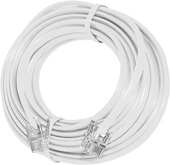 White AMZER 15 Feet Telephone Line Extension Cord Heavy Duty 4 Conductor Cable
