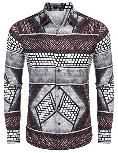 COOFANDY Men's Luxury Dress Shirt Long Sleeve Fashion Graphic Printed Shirts Casual Button Down Shirt Wine Red