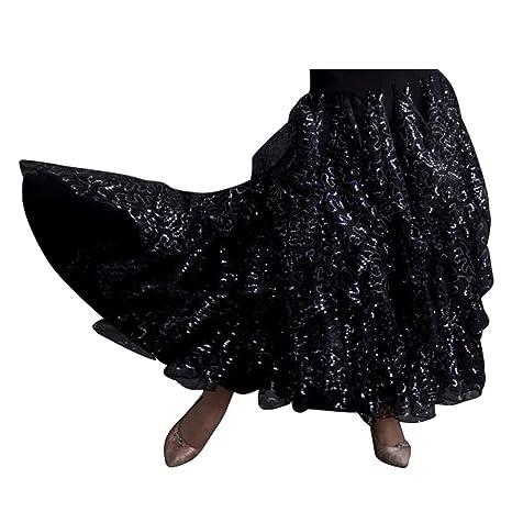 JTSYUXN Falda De Baile Latino De Baile Flamenco Falda Larga De ...