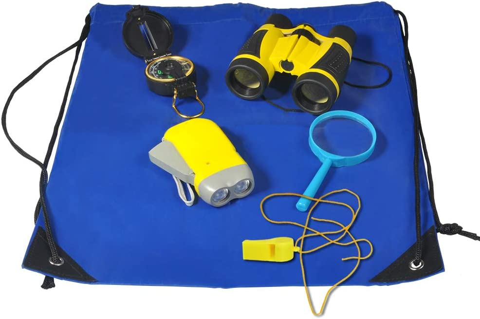 Kids Binoculars Set, Binoculars Outdoors Exploration Kit Kids with Binoculars, Magnifying Glass, Whistle, Hand Crank Flashlight, Compass, Whistle, Drawstring Backpack (Yellow)