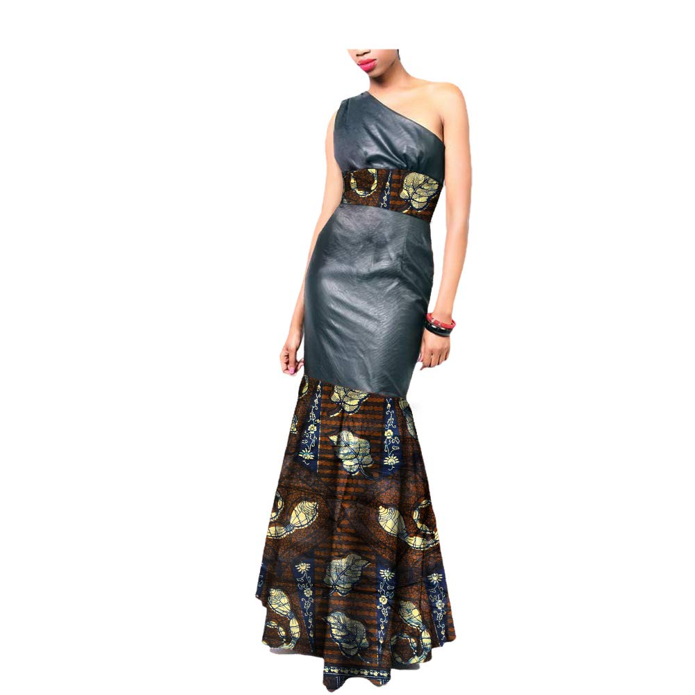 4621j African Ankara Print OneShoulder Sleeveless AnkleLength Women Sexy Trumpet Dress 100% Batik Cotton Made AA7225136