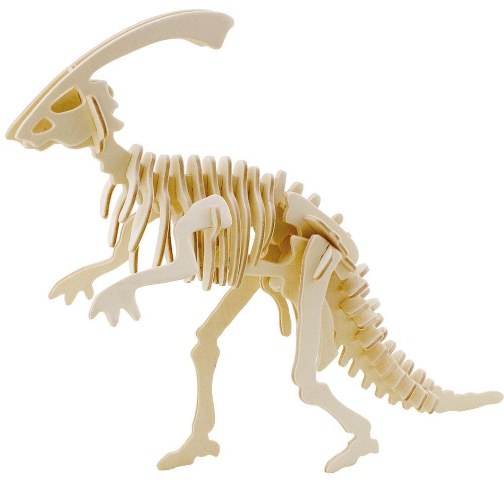 Creative Wooden 3D Assemble Puzzle Dinosaur Parasaurolophus Lucky Panda
