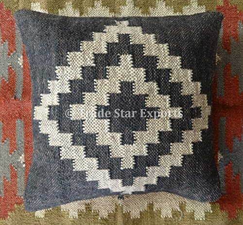 Trade Star Exports Handwoven Kilim Pillow Cover 18x18, Indian Outdoor Cushions, Decorative Throw Pillow Cases, Jute Cushion Cover, Boho Pillow Shams ()