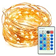 #LightningDeal 98% claimed: TT-SL036 33ft 100 LED String Lights Dimmable with Remote Control, TaoTronics Waterproof Decorative Lights for Bedroom, Patio, Garden, Gate, Yard, Parties, Wedding ( Copper Wire Lights, Warm White )