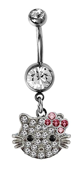 Amazon Com Trending Jewels Belly Button Ring With Dangly Hellokitty