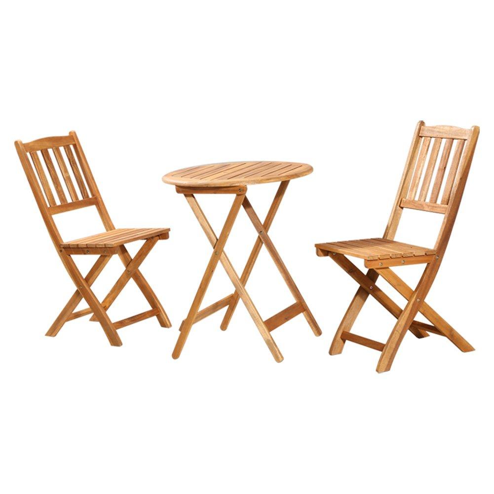 XXHDYR DREI Sätze Von Tischen Und Stühlen Aus Massivem Holz Klapp Tragbaren Outdoor Tisch Im Freien Und Zwei Stühle Holz Balkon Tisch Und Stühle Kombination Klapptisch (größe : One Table+Two stools)
