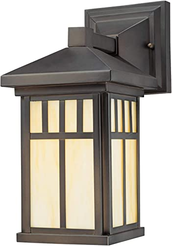 Westinghouse 6732800 Burnham One-Light Exterior Wall Lantern on Steel with Honey Art Glass, Oil Rubbed Bronze Finish, 1 Pack