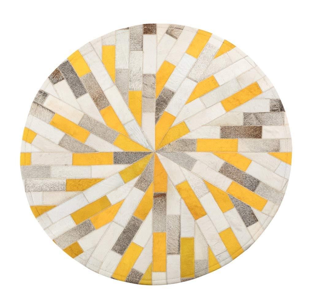 デザイナーラウンドラグ高級牛革エリアラグ用リビングルーム寝室北欧スタイル多色手縫いコーヒーテーブルソファマット子供プレイカーペット(ピンク、直径100CM) (色 : 黄, サイズ さいず : Diameter 100CM) Diameter 100CM 黄 B07QKXR3W8