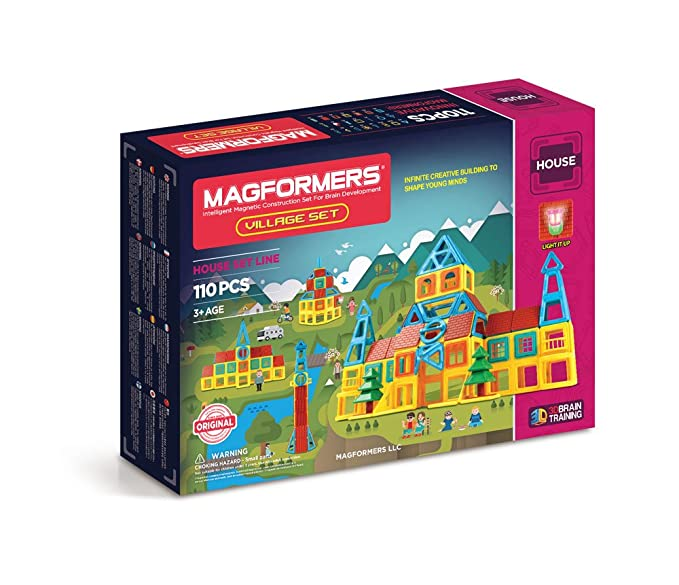Amazon Magformers Village Set 110 Piece Magnetic Building