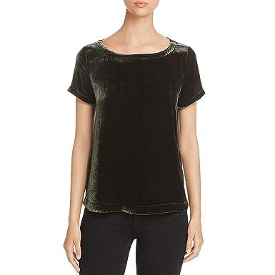 25300f9de3e78 Eileen Fisher Women s Bateau-Neck Velvet Short-Sleeve Top (Dark Pearl  Hemlock Green