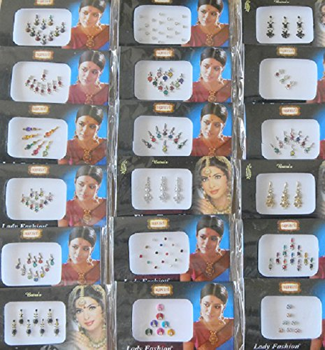100 Pack of Assorted Wholesale Bindi Face Jewel Gems Round Long Small Bindi Fake nose stud Forehead Bellydance Bindi Indian Portlook Tattoos Sticker