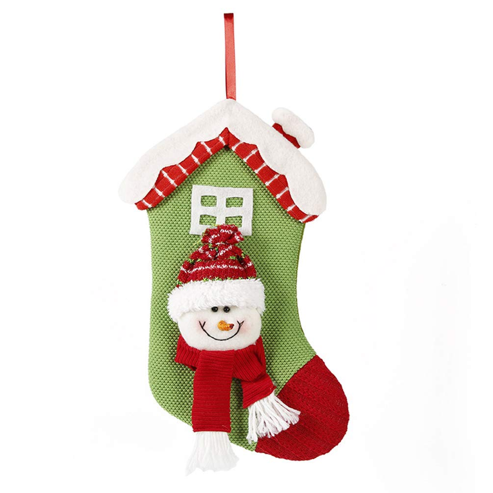 Miss X DIY 2018 New 2 Pack 14'' Snowflake Mini Christmas Stockings Burlap Stocking Christmas Ornament for Family Decorations (Snowman C)