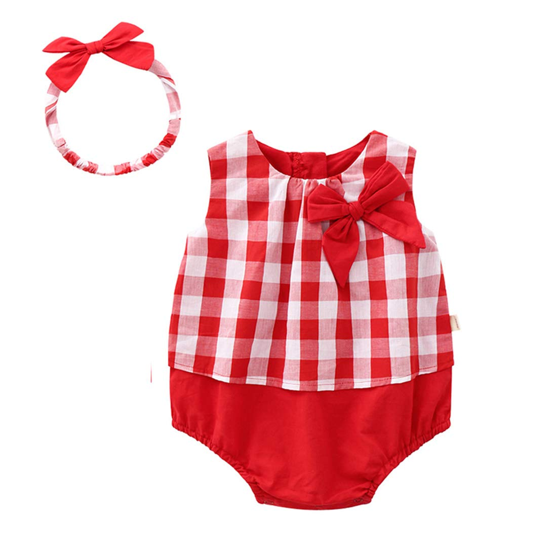 FCQNY Toddler Baby Girls Red Plaid Sleeveless Cotton Romper Jumpsuit with Headband