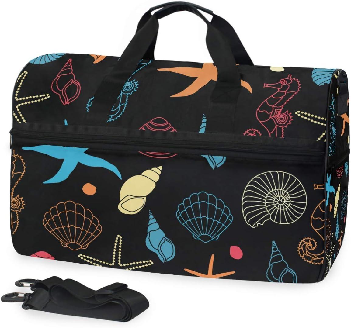 MALPLENA Blue Red Seahorse Stars Conch Packable Duffle Bag For Men Women Tear Resistant Sports Duffle